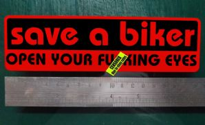 Save a Biker Open Your Fuxing Eyes Sticker funny Rude car van bike BLACK ON RED